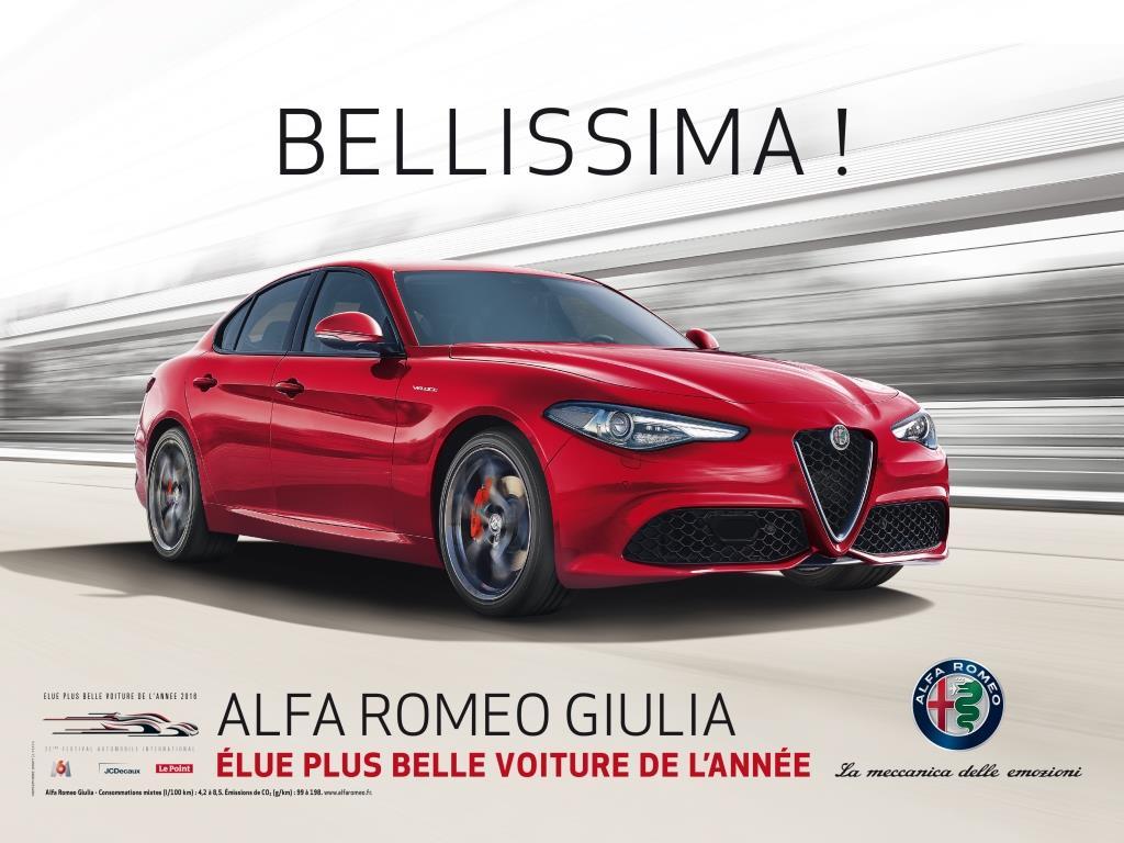 alfa romeo giulia chec commercial pour la plus belle voiture de l 39 ann e le mag auto prestige. Black Bedroom Furniture Sets. Home Design Ideas