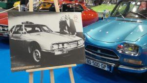 Une photo d'archive de Citroën représentant une SM et le chanteur suédois David Holm